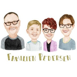 Funny Family Caricature from Photos for Family Reunion