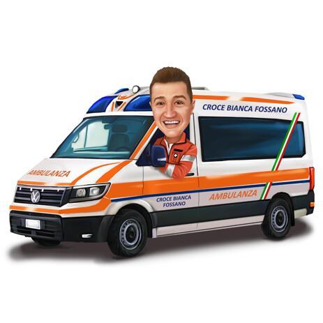 色付きのスタイルでの救急車労働者似顔絵 - example