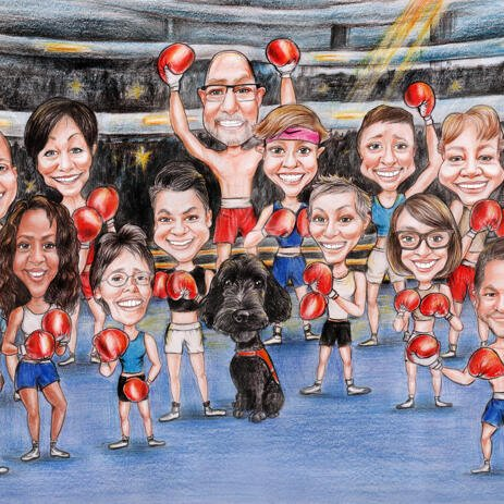 Boxing Group Caricature from Photos - example