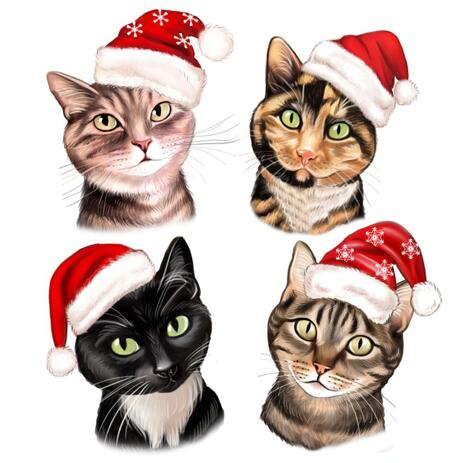 Christmas Cats Caricature Portrait in Color Style - example