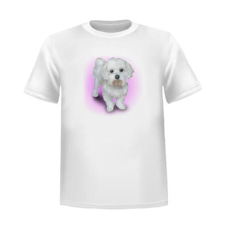 T-Shirt Print Pet Caricature Portrait from Photos with Single Color Background - example