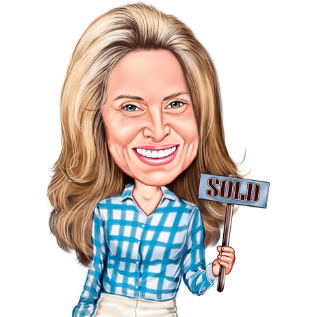 House Agent Holding Sign - Colored Caricature from Photo - example