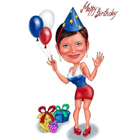 Happy Birthday Girl Caricature in Full Body Color Style from Photos - example