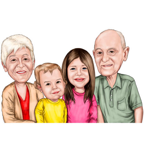 Grandparents and Grandkids Colored Caricature from Photos - example
