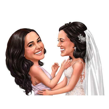 Bride with Best Bridesmaid Caricature from Photos in Color Style - example