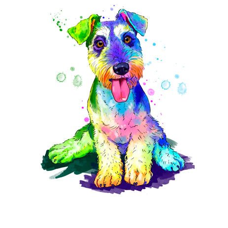 Fox Terrier Dog Breed Caricature Portrait in Full Body Bright Watercolor Style from Photo - example