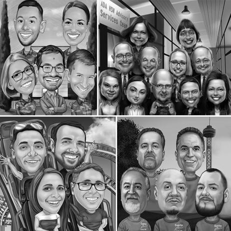 Group Caricature Portrait in Black and White Style with Custom Background - example