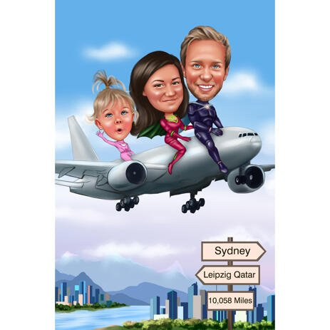 Family on Airplane Caricature from Photos - example