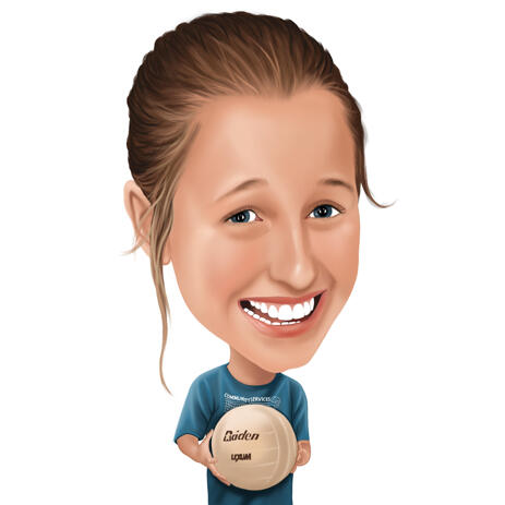 Kid Volleyball Player Cartooning Portrait from Photos - example