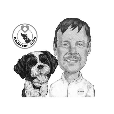 Pet with Vet Doctor Caricature from Photos - example