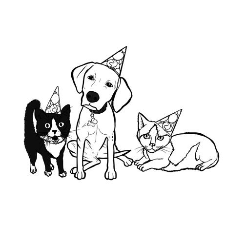 Full Body Pets Caricature in Outline Style for Custom Pet Lovers Gift - example
