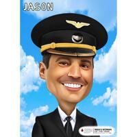 Hoved og skuldre Pilot karikatur fra fotos på farvet baggrund