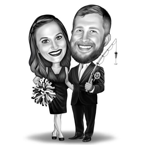 Couple Caricature with Different Hobbies - example