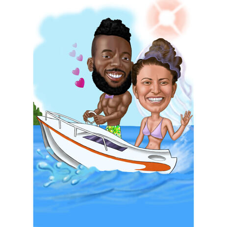 Funny Wedding Couple on Boat Caricature in Color Style from Photos - example