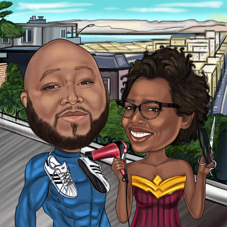 Superhero Couple Caricature with Various Hobbies and Background - example