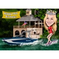 Caricature de surf de sillage personnalisé du propriétaire de chien avec bateau sur fond de lac