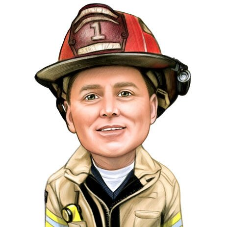 Firefighter Portrait from Photos: Head and Shoulders, Colored Style - example