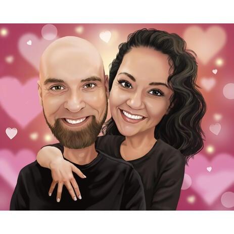 Romantic Couple Caricature for Custom Anniversary Gift - example