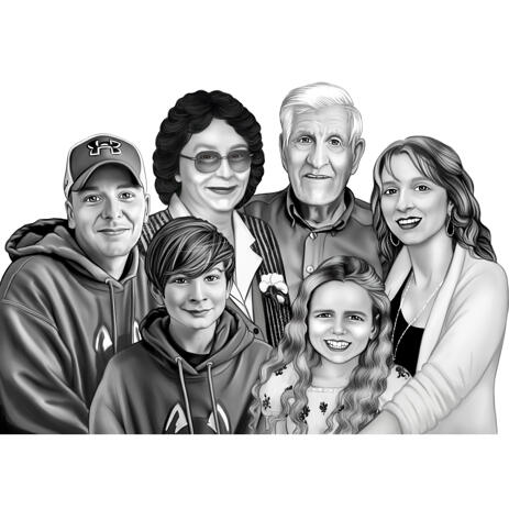 Black and White Realistic Family Portrait from Photos - example