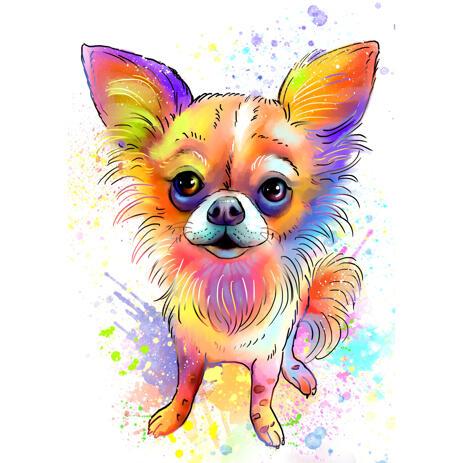Watercolor Pastel Full Body Chihuahua Cartoon Portrait Drawing Art - example