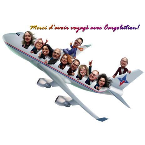 Aviation Airline Employee Group Cartoon Drawing in Colored Style from Photos - example