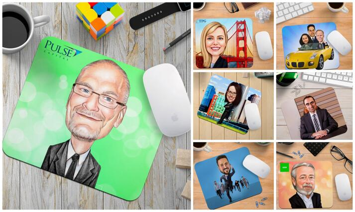 Business Caricature Mouse Pads large example