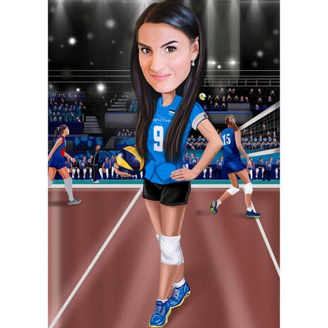 Volleyball Caricature from Photos on Field - example