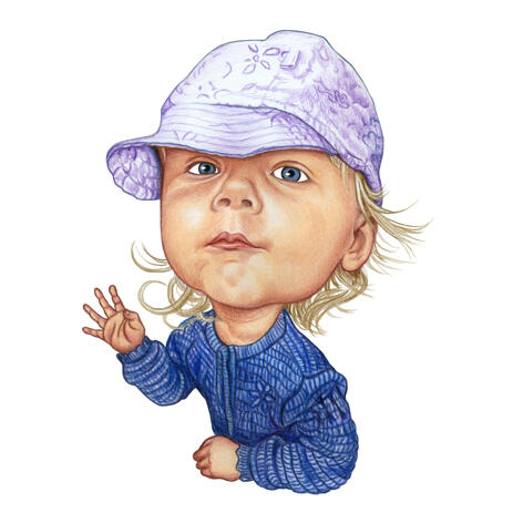 Funny Baby Caricature Portrait Hand Drawn in Colored Pencil Style from Photos - example