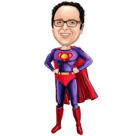 スーパーヒーローの似顔絵を任意のロゴが入った破れた胸として描画 - example