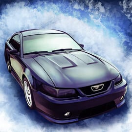 Car Caricature Cartoon from Photos with Custom Background