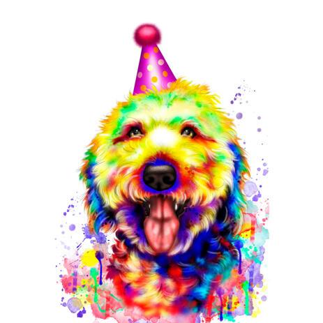 Акварельная карикатура собаки в колпаке для подарка на день рождения - example