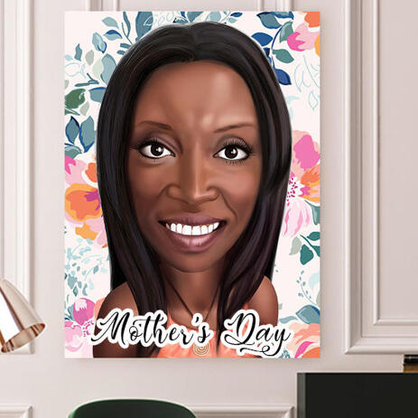 Print on Canvas: Colored Digital Mother's Day Cartoon Drawing from Photo - example