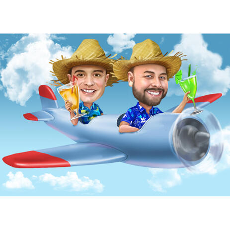 Friends in Airplane Caricature from Photos: Pilots Style - example