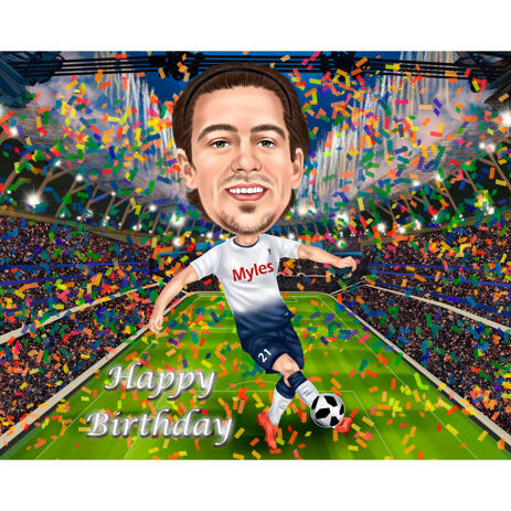 Birthday Football Soccer Game Player Caricature from Photography - example