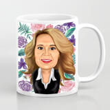 Digital Drawing of Cartoon on Mother's Day Printed on Ceramic Mug