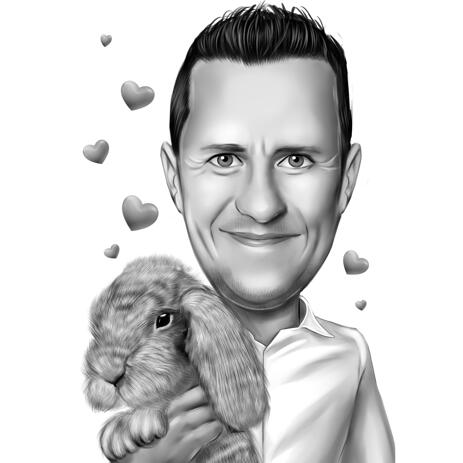 Owner with Rabbit Caricature from Photos in Black and White Style - example