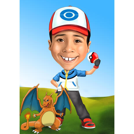 Kid Pokemon Fan Caricature in Color Style with Custom Background - example