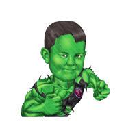 Caricature amusante de la tête et des épaules d'un enfant à partir de photos en tant que super-héros vert