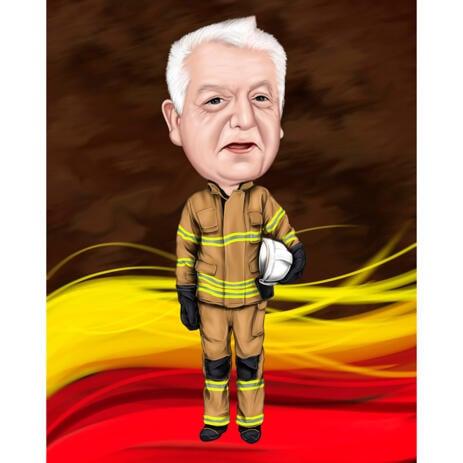Рисунок карикатуры на пожарного по фотографии на фоне пламени - example