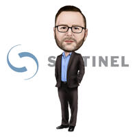 Full Body Employee Caricature with Company Logo Background