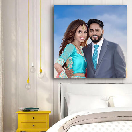 Colored Style Couple Portrait Hand Drawn from Photos - Canvas Print - example