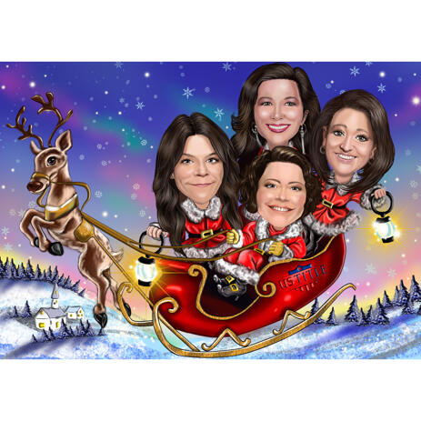 Christmas Girls Colored Caricature from Photos in Santa's Sleigh - example