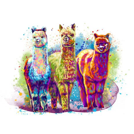 Llama Cartoon Portrait from Photos in Watercolor Style with Splashes in the Background - example