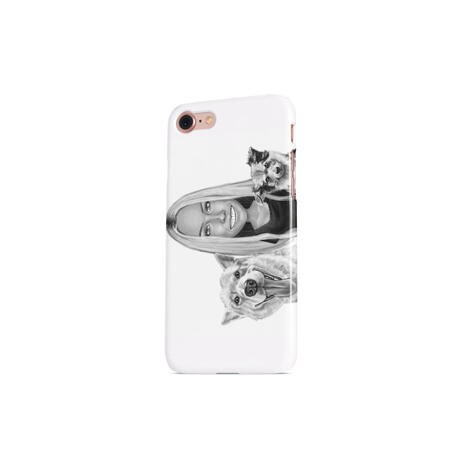 Owner with Pets Caricature on Photo Case - example