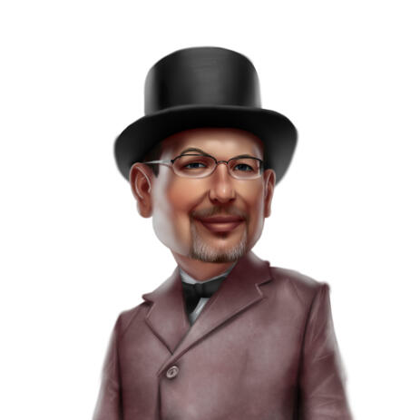 Man in Top Hat Cartoon Portrait Hand Drawn from Photos - example