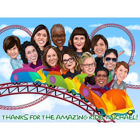 Riding Roller Coaster Group Caricature in Colored Style for Colleagues Gift - example