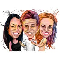 Group of Three People Caricature Portrait in Watercolor Style from Photos