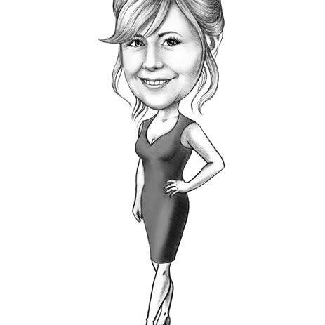 Custom Digital Drawing of Woman Cartoon Caricature - example