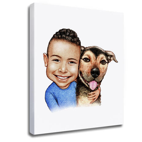 Kid and Dog Caricature as Photo Block - example