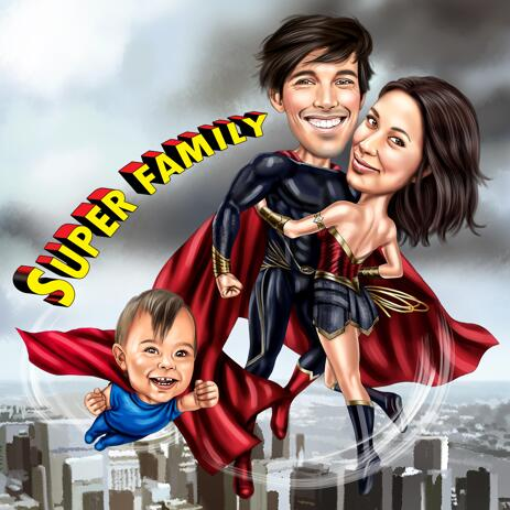 Super Family Caricature from Photos - example